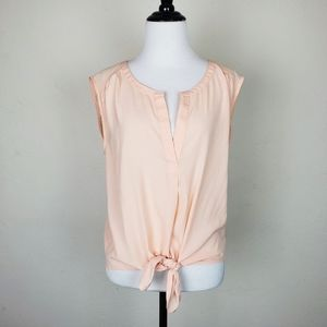 American Eagle Outfitters Pink Sheer Tie Front Top